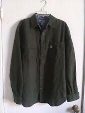 Carhartt Relaxed Fit Men's Button Front Heavy Dark Green Work Wear Shirt Medium