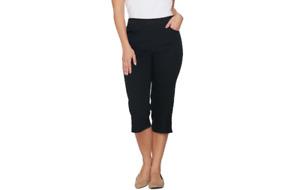 Denim & Co. Pull-on Stretch Capri Pants with Crochet Detail Black 16 A288103 J