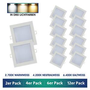 [2er - 12er Pack] LED Einbaustrahler eckig flach 6W Set Einbau-Leuchten Strahler