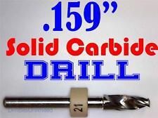 ".159"" 4.05mm  -Solid Carbide Drill Bit - 1/8"" Shank -Sharp! CNC Hobby Model -lu"