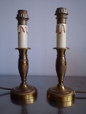 PAIRE LAMPE BOUGEOIR St EMPIRE BRONZE DORE DECO NAPOLEON 1er LUMINAIRE CANDLESTI