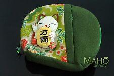 Chirimen Manekineko lucky cat cute japanese kimono crepe cosmetic case pouch bag
