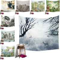 Plant Wall Hanging Forest Deer Bird Tapestry Beach Towel Bedspread Throw Cover