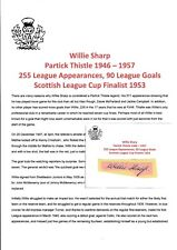 Willie Sharp Partick Thistle 1946-1957 Raro Original Corte/tarjeta firmada a mano
