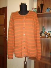 GUDRUN SJODEN BURNED BEIGE/ORANGE STRIPED COTTON KNITTED BUTTONED CARDIGAN-SZE M