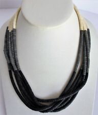 "Necklace Gray Black and White Color Necklace Five Strand Seed Beads 19"" long"
