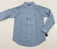 New with tag Boys RALPH LAUREN Blue White Striped Long Sleeve POLO Dress Shirt 7
