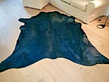 Premium Kuhfell dunkelblau/petrol gefärbt Stierfell Rindfell ca. 220cm x 210cm