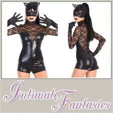 Sexy Black Vinyl Cat Costume Fancy Dress Outfit Catsuit Jumpsuit Size 8 10 12