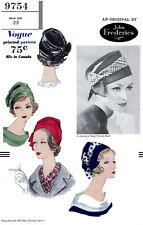 Designer JOHN FREDERICS VOGUE #9754 Millinery Cap Hats Fabric Sewing Pattern 23""
