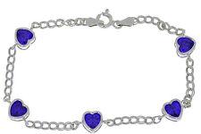 5 Ct Amethyst Heart Bezel Bracelet .925 Sterling Silver