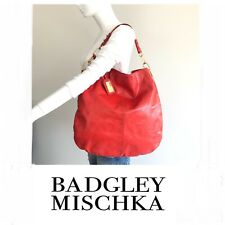 BADGLEY MISCHKA Gaia Dark Orange Smooth Leather Hobo Slouch Shoulder Bag.