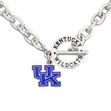 Kentucky Wildcats Team Name Toggle Silver Necklace Blue Enamel Charm Jewelry UK