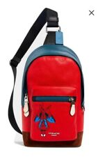 💚 COACH x Marvel West Pack 2407 Spiderman Leather Backpack Sling Bag SHIPS FAST
