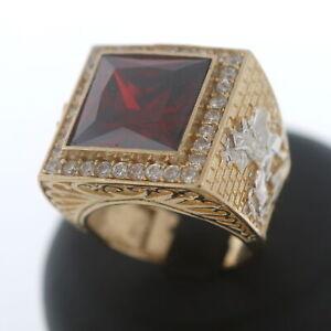 Herren Ring 585 Gold mit Farbstein und Zirkonia 14 Kt Bicolor Wert 2400,-