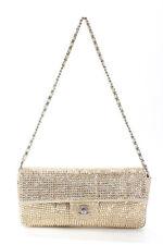 Chanel mujer E/W STRASS RHINESTONE Con Solapa Bolso Bolso de mano oro