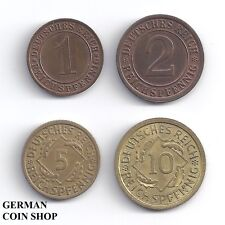 Germany Weimarer Republik - Set 1, 2, 5, 10 Reichspfennig 1924 - 1936