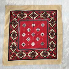 Vintage Neck Scarf Tribal Aztec Red Handkerchief Geometric Headband Made in USA