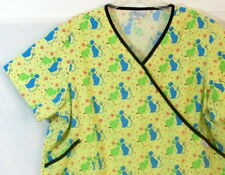 American Standard Scrub Top Size 3XL Yellow Green Cats Medical Uniform