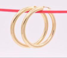 """2"""" 5mm X 50mm Bold Thick Large Plain Shiny Hoop Earrings REAL 10K Yellow Gold"""