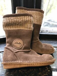 Girls Clarks Toddler brownSz Girls Kids 8 US Winter Shoes Down Suede Knit top