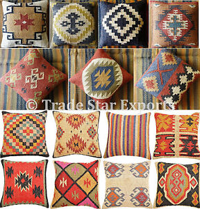 Handwoven Jute Wool Pillow Cases Set of 10 Vintage Rustic Kilim Cushion Covers
