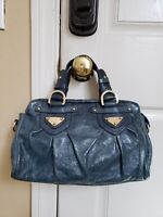 CHARLES DAVID Purse Hand Bag Gold Hardware Turquoise-Blue
