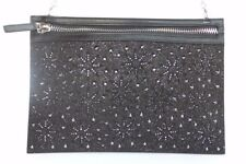 Swarovski Black Fireworks Crystal Clutch Purse Bag Zip Remove Chain Calf Leather