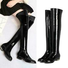 Women's Over The Knee High Thigh Boots Chunky Heel Patent Leather Shoes Sz