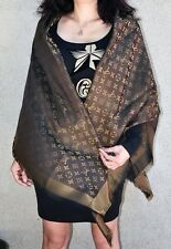 NEW LV Monogram Silk/Wool Shine Scarf/Shawl 100% Authentic M75122 Louis Vuitton