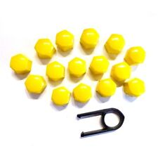 17mm Set 20 Yellow Car Caps Bolts Alloy Wheels For Nuts Covers ABS PC Plastic