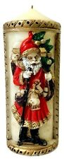 Vintage Old World German Santa Claus Pillar Candle Christmas Holiday Belsnickle