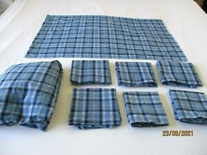 Eddie Bauer QUEEN Fitted Sheet & 7 Pillow Shams & Cases Blue Plaid