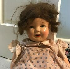 """23"""" Antique Doll Blue Eyes Brunette Brown Original Hair and Clothes, Cloth Body"""