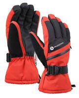 Men Warm Zipper Ski Gloves Winter Sports Waterproof Touchscreen Snow Mittens