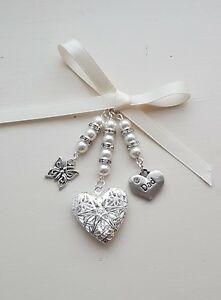 Wedding Bouquet Filigree Silver Heart Locket charm  butterfly dad ivory pearls