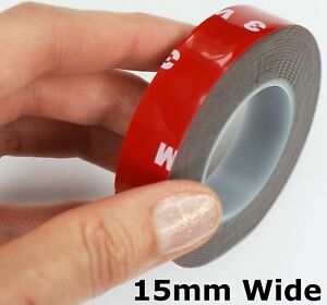 Grey VHB DOUBLE SIDED TAPE ~ 15mm wide x 0.8mm thick ~ Self Adhesive Sticky Pads