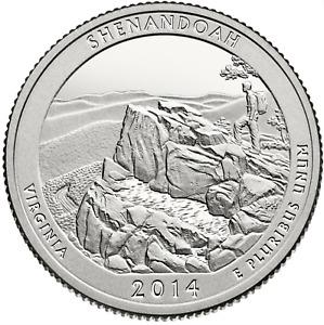 US QUARTER DOLLAR UNC 2014 VIRGINIA SHENANDOAH NAT PARK S P D Mint COINS