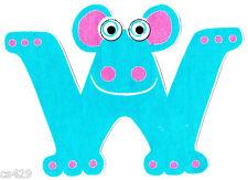 "4.5-6"" Alpha Critters Alphabet Letter W Name Monogram Fabric Applique Iron On"