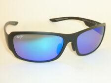 Authentic Polarized  MAUI JIM MONKEYPOD Sunglasses Matte Black B441-2M Blue Lens