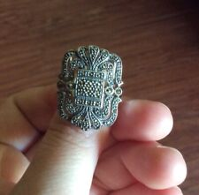 AURA BY TJM 925 THAILAND SILVER MARCASITE RING - SIZE 6 - 6.1g - PRE-OWNED