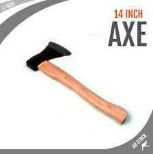 """14"""" Axe Wooden Handle Camping Firewood Piling Splitter Drop Forged Steel 500g"""