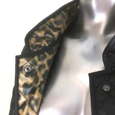 Black Quilted Jacket Blazer by Baronia Leopard Print Lining German Design 10
