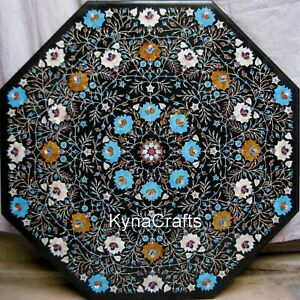 """36"""" Marble Dining Table Top Turquoise Stone Inlaid Work Center Table for Decor"""