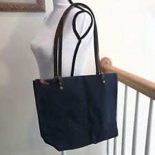 NWOT! Handmade WaterProof Waxed Canvas, Leather & Brass Navy Tote Shoulder Bag