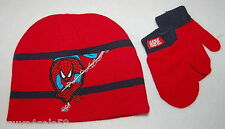 Toddler BOYS Stocking Hat & Mittens RED Embroidered SPIDERMAN Marvel Comics