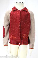 JACADI Boy's Aphille Burgundy Collard Think Knit Cardigan Size 4 Years NWT $88