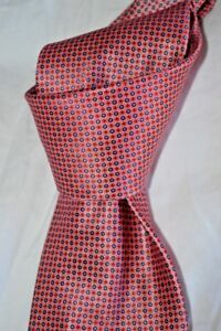 """$235 NWOT BRIONI Red w/ blue dots men's 3.5"""" handmade woven silk tie ITALY"""