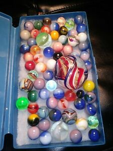 Lot#49 Antique Vintage And Modern Mix Of Marbles Shooter Art Game