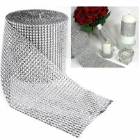 FULL ROLL 10 Yards Diamante Crystal Effect Mesh Ribbon Trim! 24 Rows Silver
